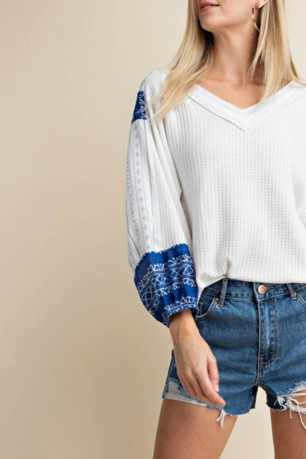 KORI AMERICA Contrast Sleeve Waffle-Knit - Front Full Image