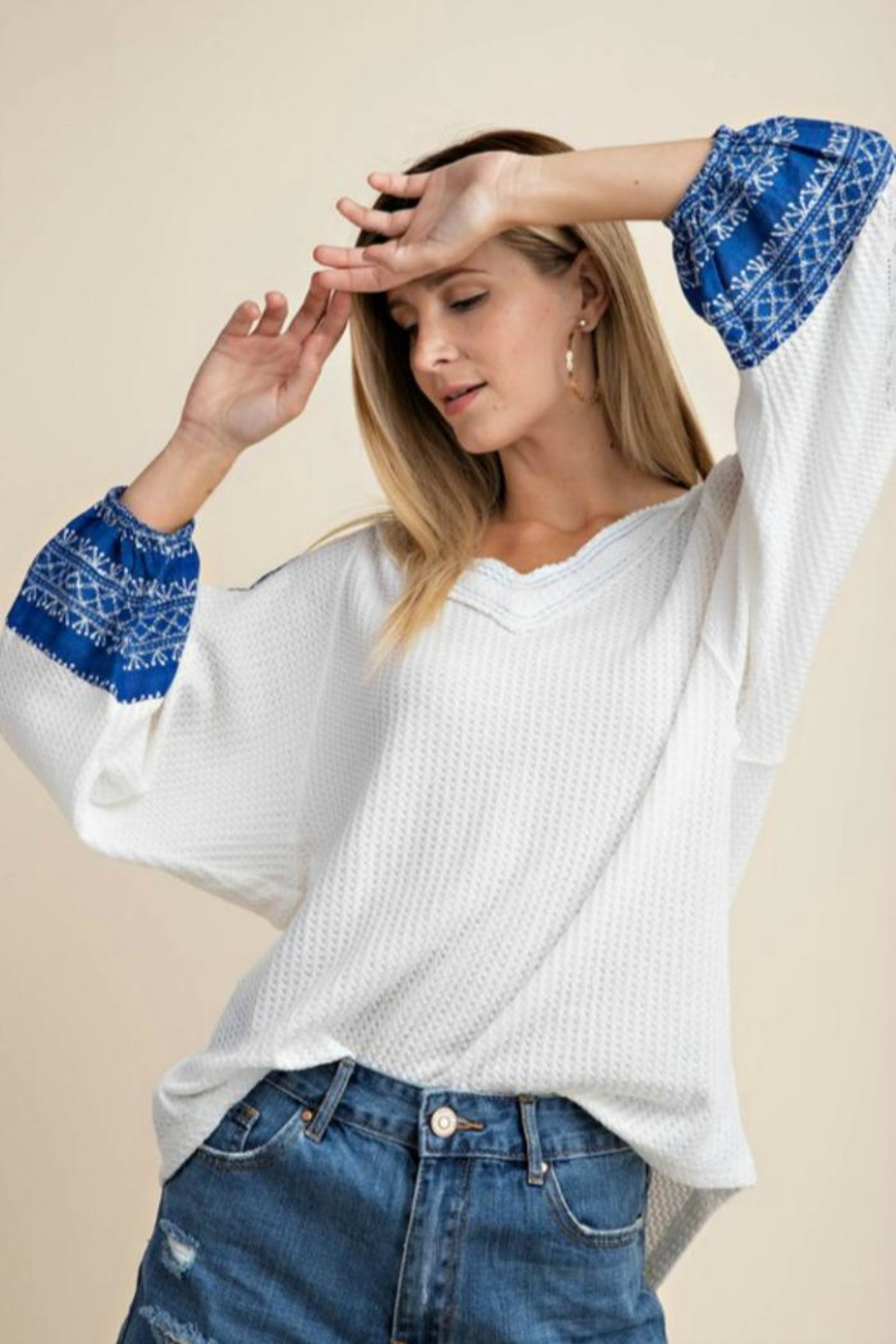 KORI AMERICA Contrast Sleeve Waffle-Knit - Front Cropped Image