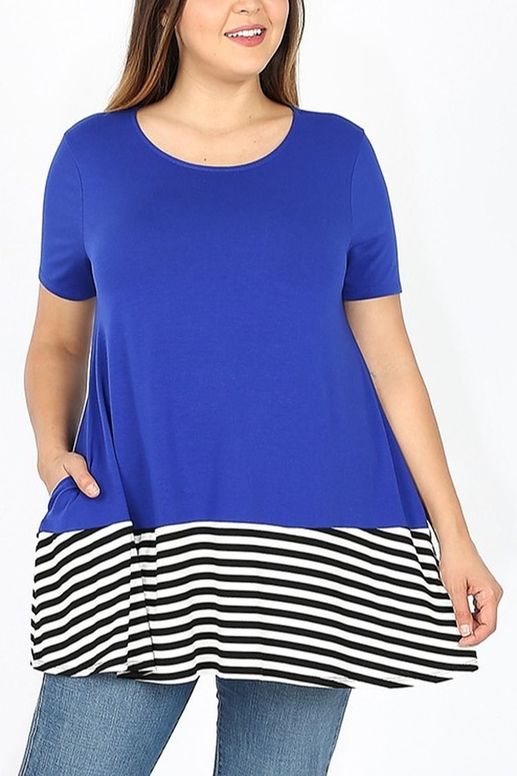 Lyn-Maree's  Contrast Stripe Bottom Tee - Front Full Image