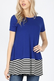 Lyn-Maree's  Contrast Stripe Bottom Tee - Front cropped