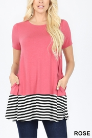 Lyn-Maree's  Contrast Stripe Bottom Tee - Product Mini Image