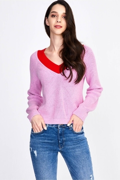 525 America Contrast V-Neck Cropped Sweater - Product List Image