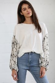 By Together Contrasted Sleeve Top - Front cropped