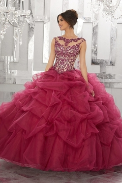Morilee Contrasting Beading and Embroidery on a Ruched Tulle Ball Gown - Product List Image