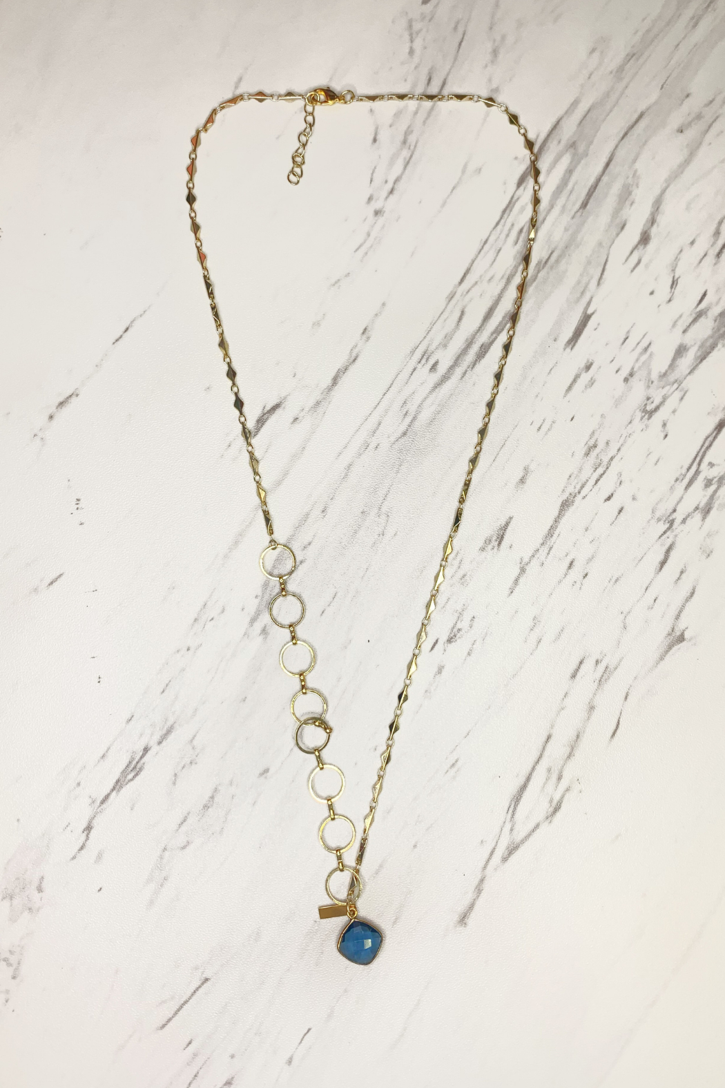 Midori Linea Contrasting Chain Long Drop Necklace - Main Image