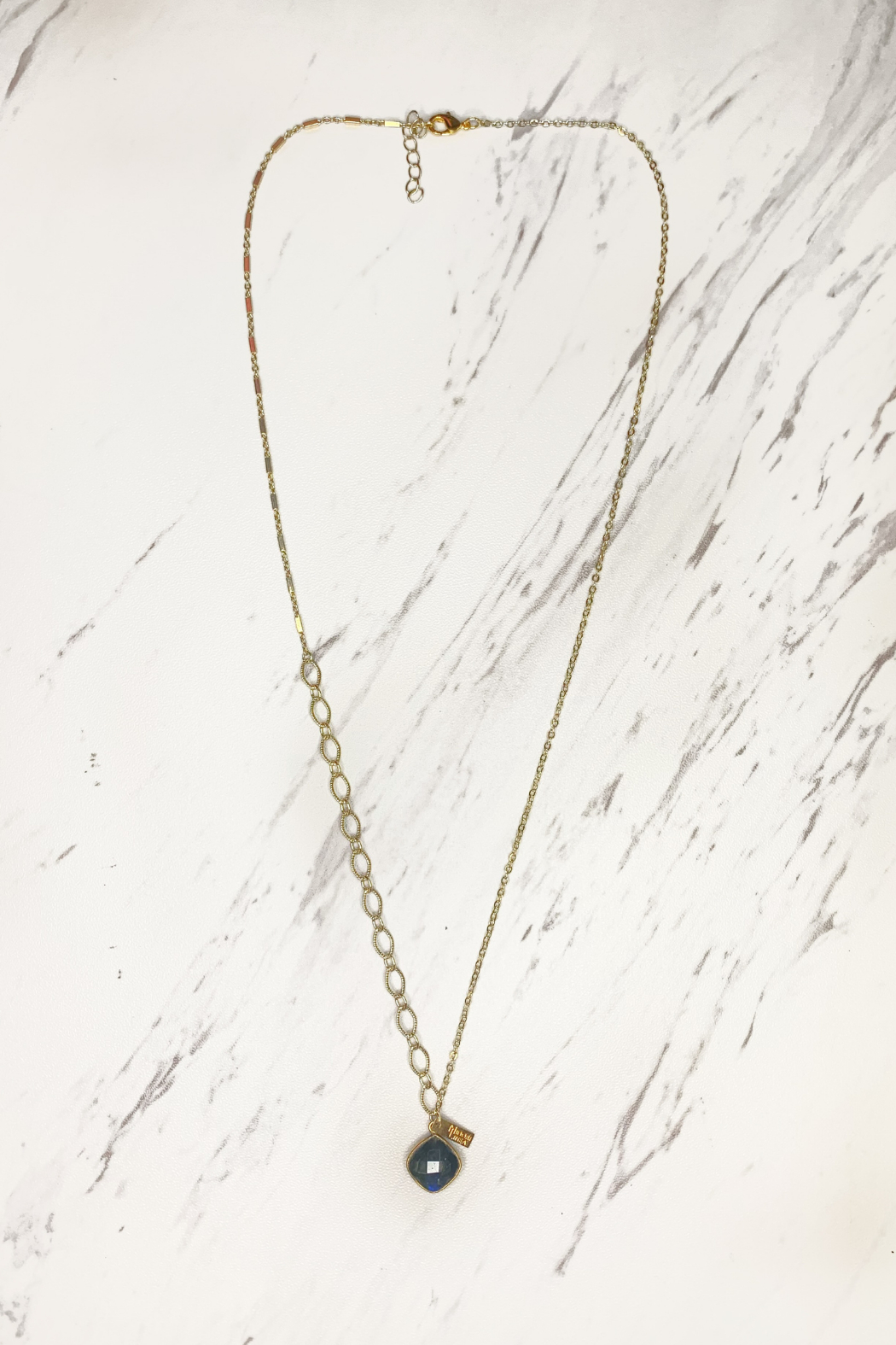 Midori Linea Contrasting Chain Long Drop Necklace - Front Cropped Image
