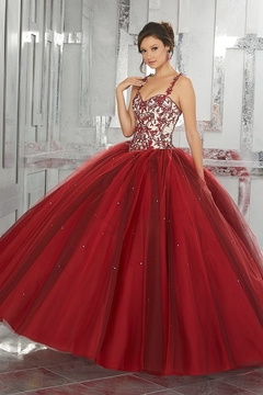 Morilee Contrasting Embroidery with Beading on a Layered Tulle Ball Gown - Product List Image