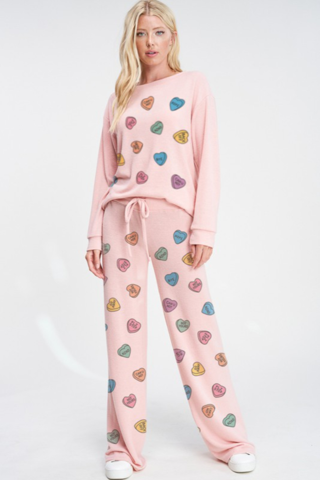 Phil Love  Conversation Hearts Lounge Top - Front Full Image