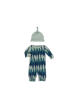 Kickee Pants Converter Gown & Hat Set - Navy Forestry - Alternate List Image