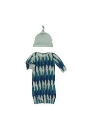 Kickee Pants Converter Gown & Hat Set - Navy Forestry - Product Mini Image