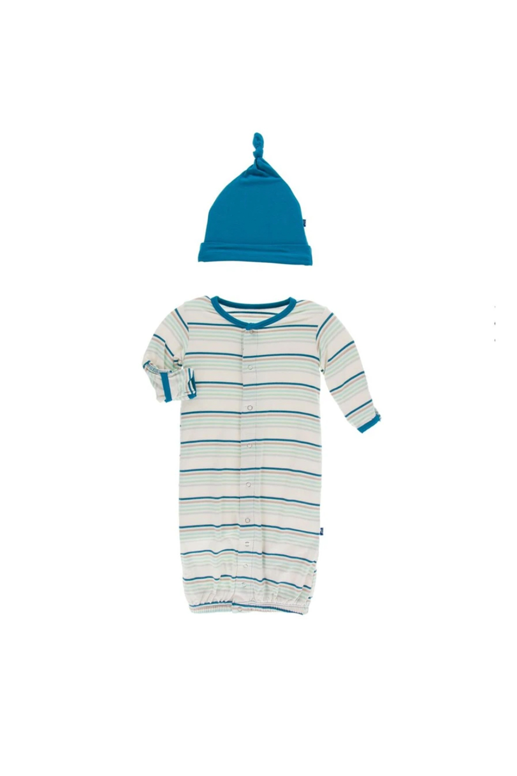 Kickee Pants Converter Gown & Hat Set - Stripe - Front Cropped Image