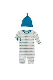 Kickee Pants Converter Gown & Hat Set - Stripe - Front full body