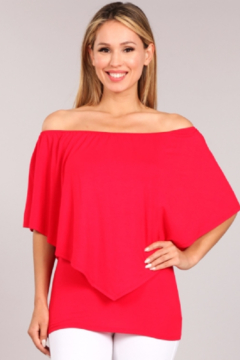 Chatoyant  Convertible Elasticized Neckline Top - Red - Product List Image