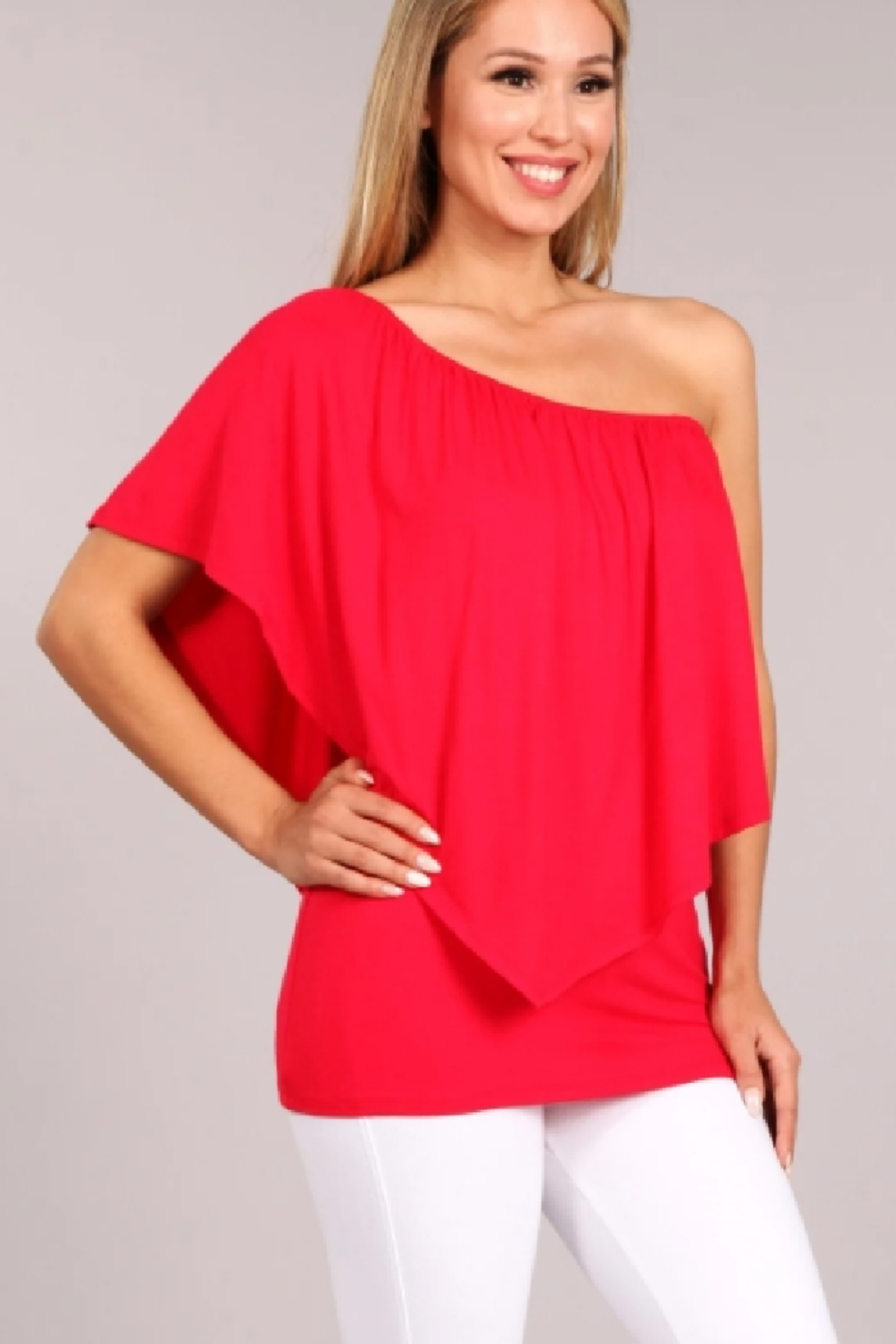 Chatoyant  Convertible Elasticized Neckline Top - Front Cropped Image