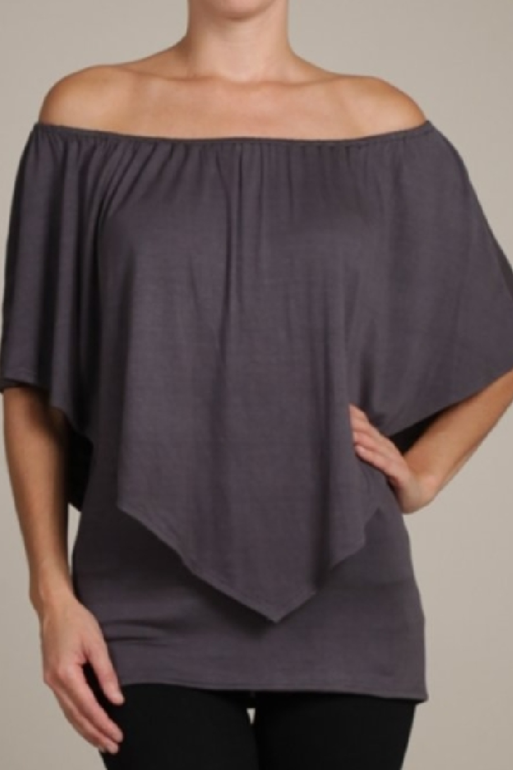Chatoyant  Convertible Elasticized Neckline Top - Front Full Image