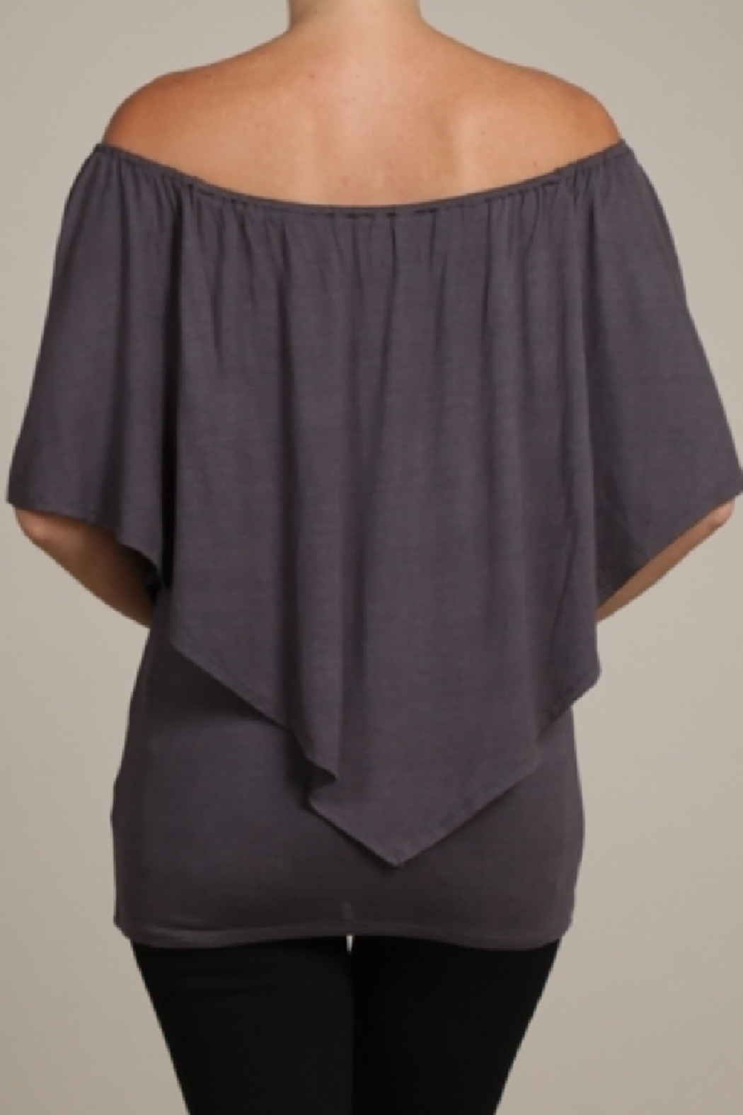Chatoyant  Convertible Elasticized Neckline Top - Side Cropped Image