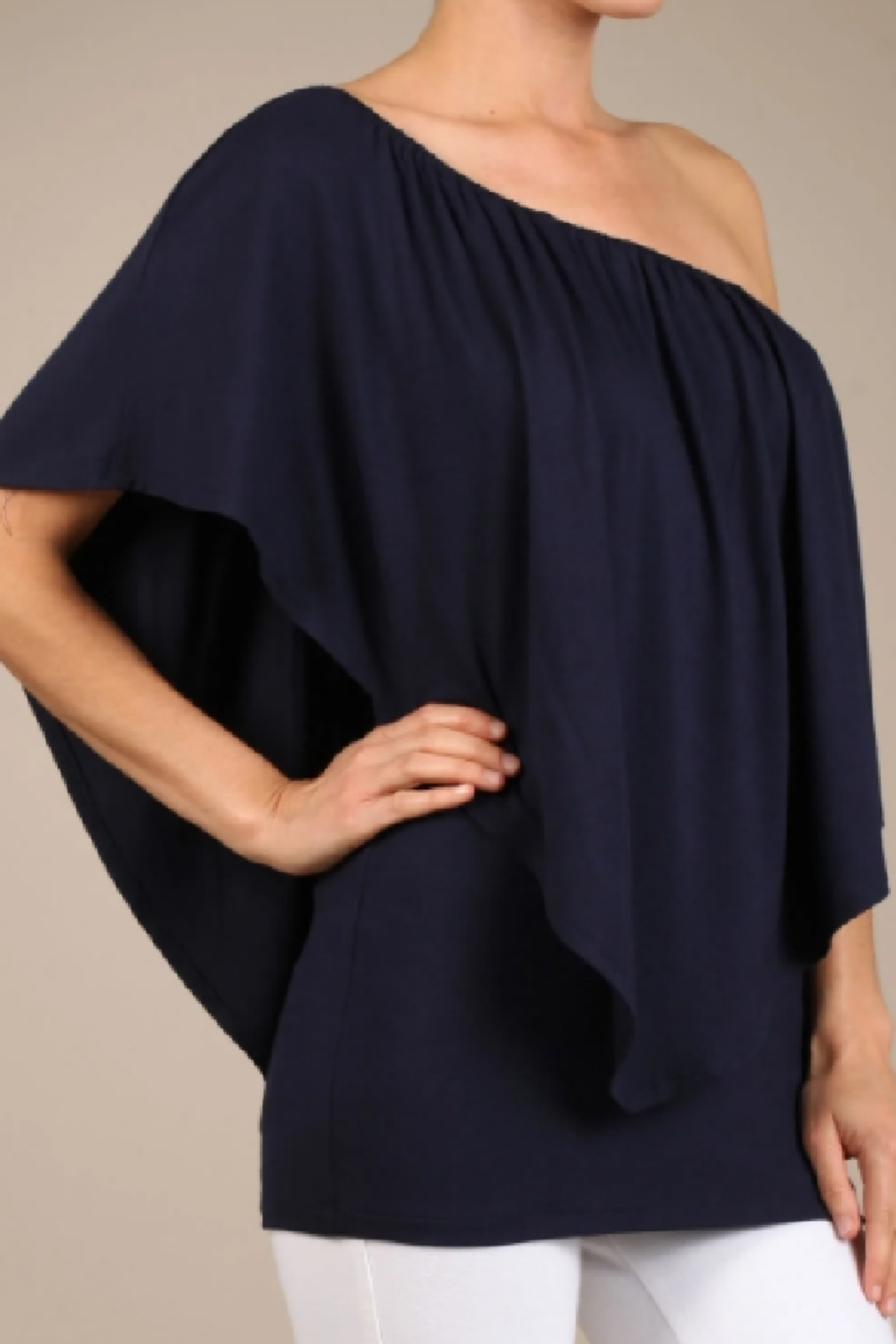 Chatoyant  Convertible Elasticized Neckline Top - Back Cropped Image