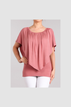 Chatoyant  Convertible Elasticized Neckline Top - Dusty Pink - Product List Image