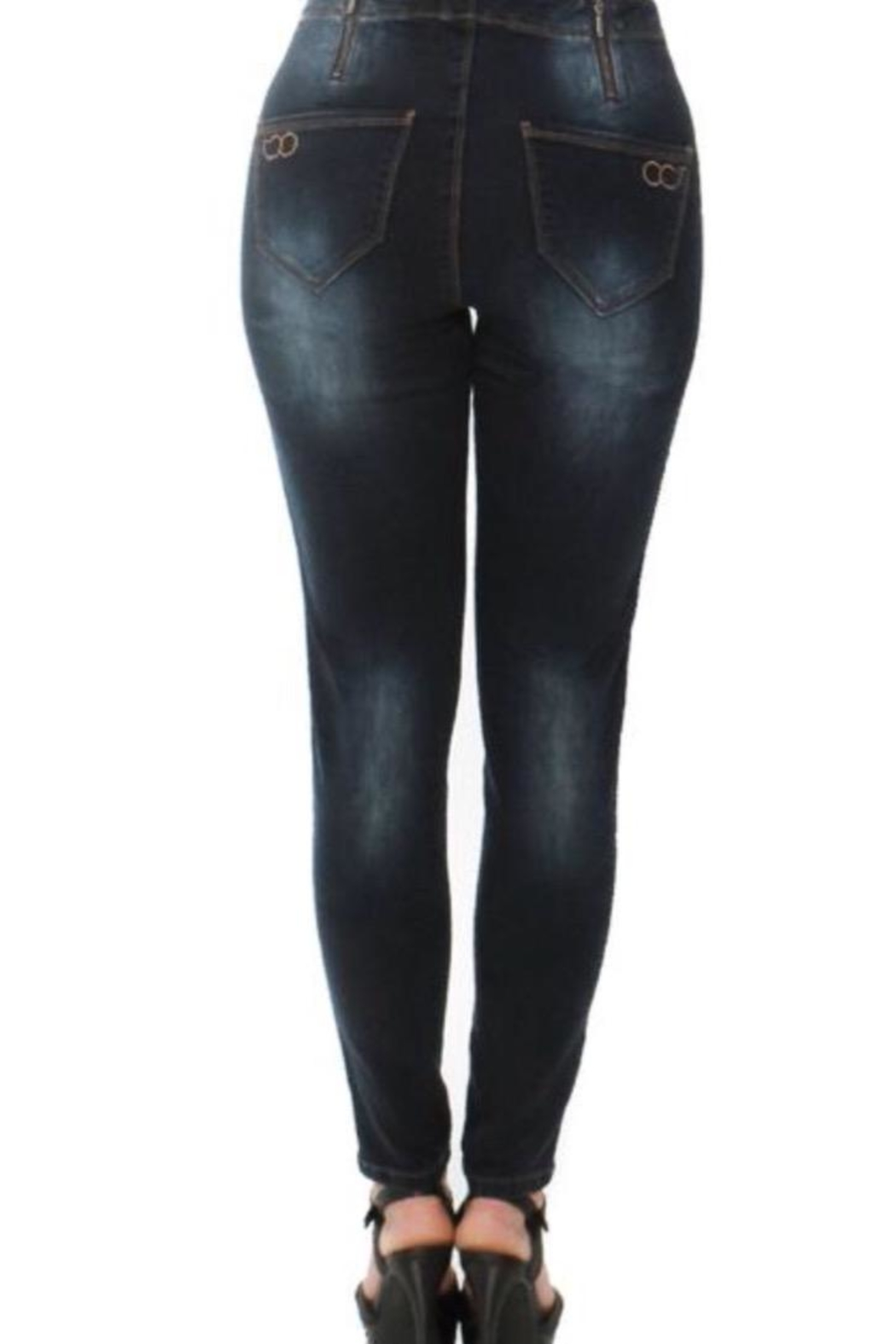 Convi Jeans by Cenia Zipper Waist Jeans - Front Full Image