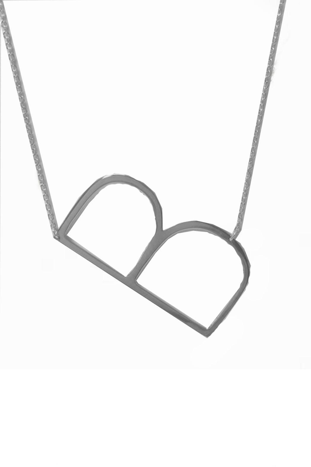 Cool and Interesting Initial Sideways Necklace - Back Cropped Image