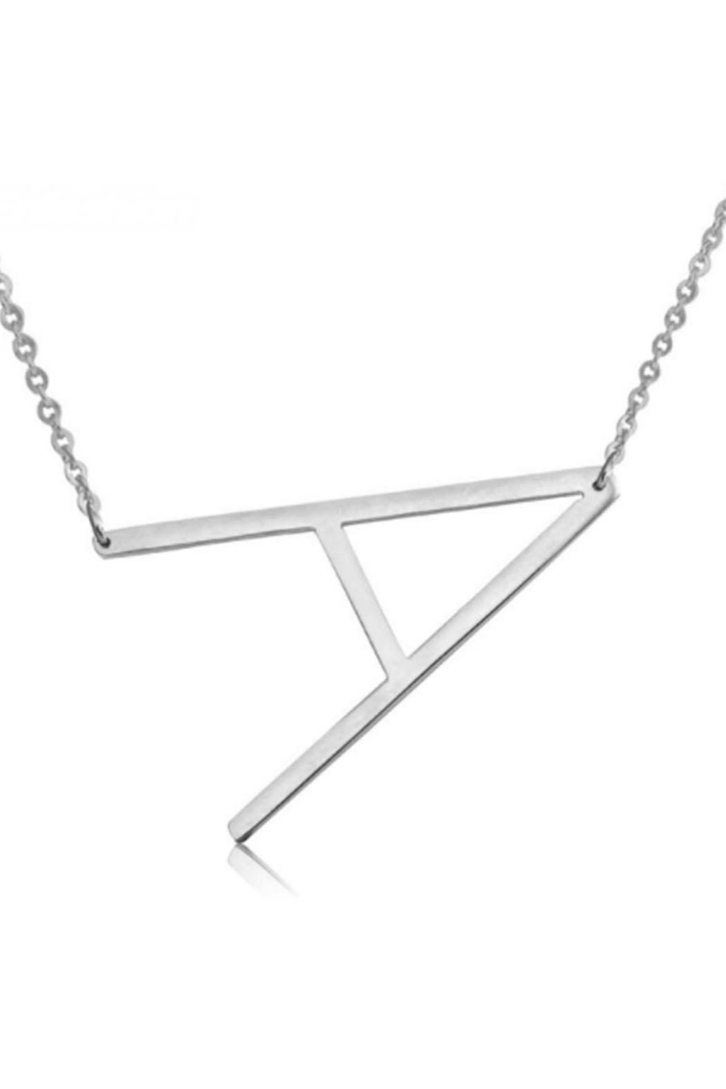Cool and Interesting Initial Sideways Necklace - Front Full Image