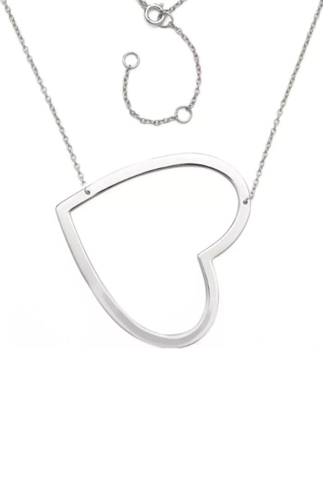 smiley heart w pendant face sterling silver chain sideways eyes necklace