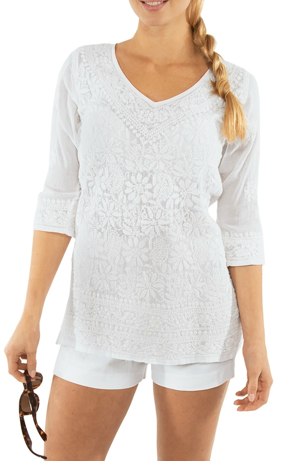 Gretchen Scott Copacabana Hand Embroidered Tunic - Front Cropped Image