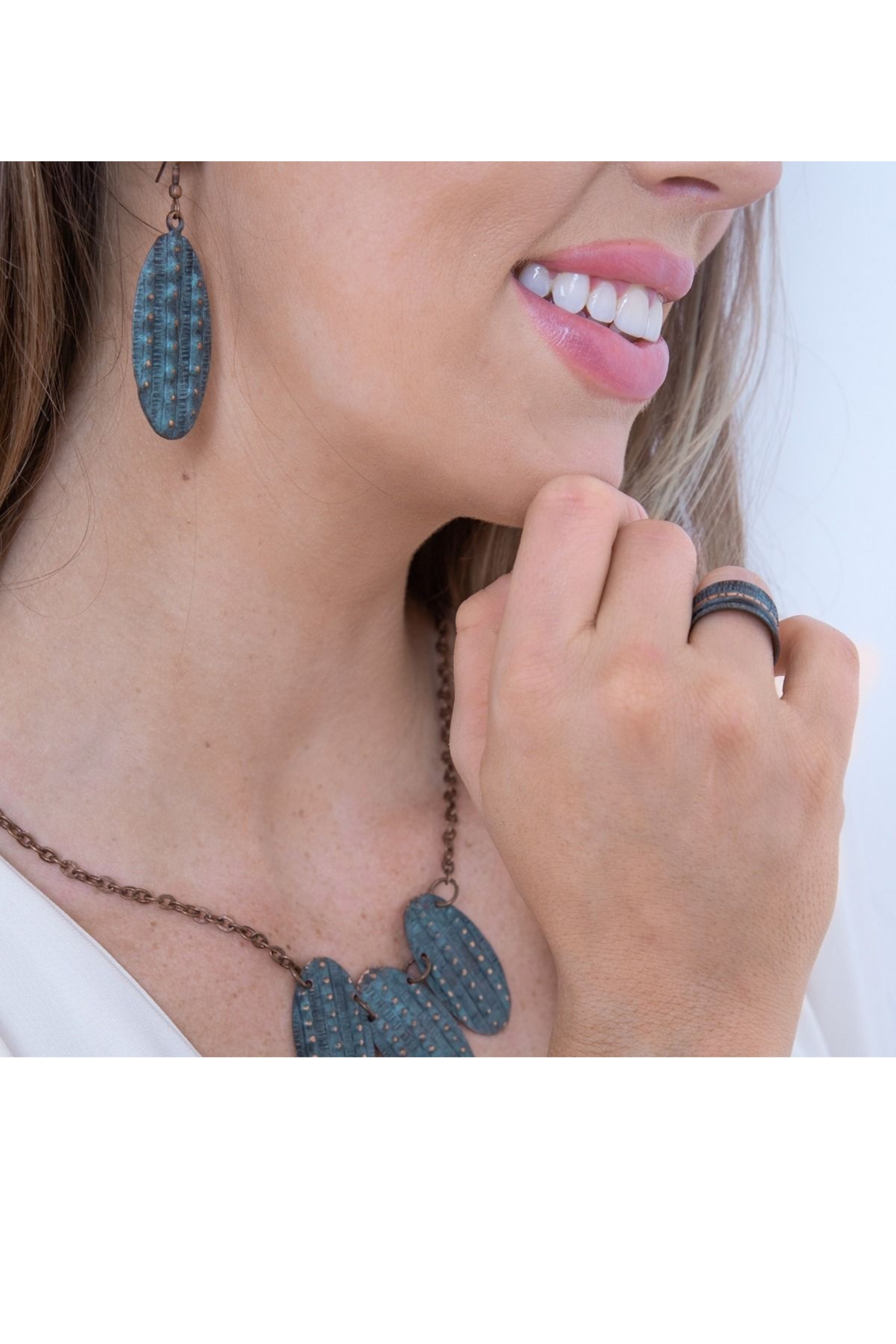 Anju Handcrafted Artisan Jewelry Copper Patina Earrings - Front Full Image