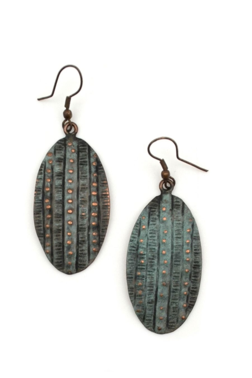 Anju Handcrafted Artisan Jewelry Copper Patina Earrings - Front Cropped Image