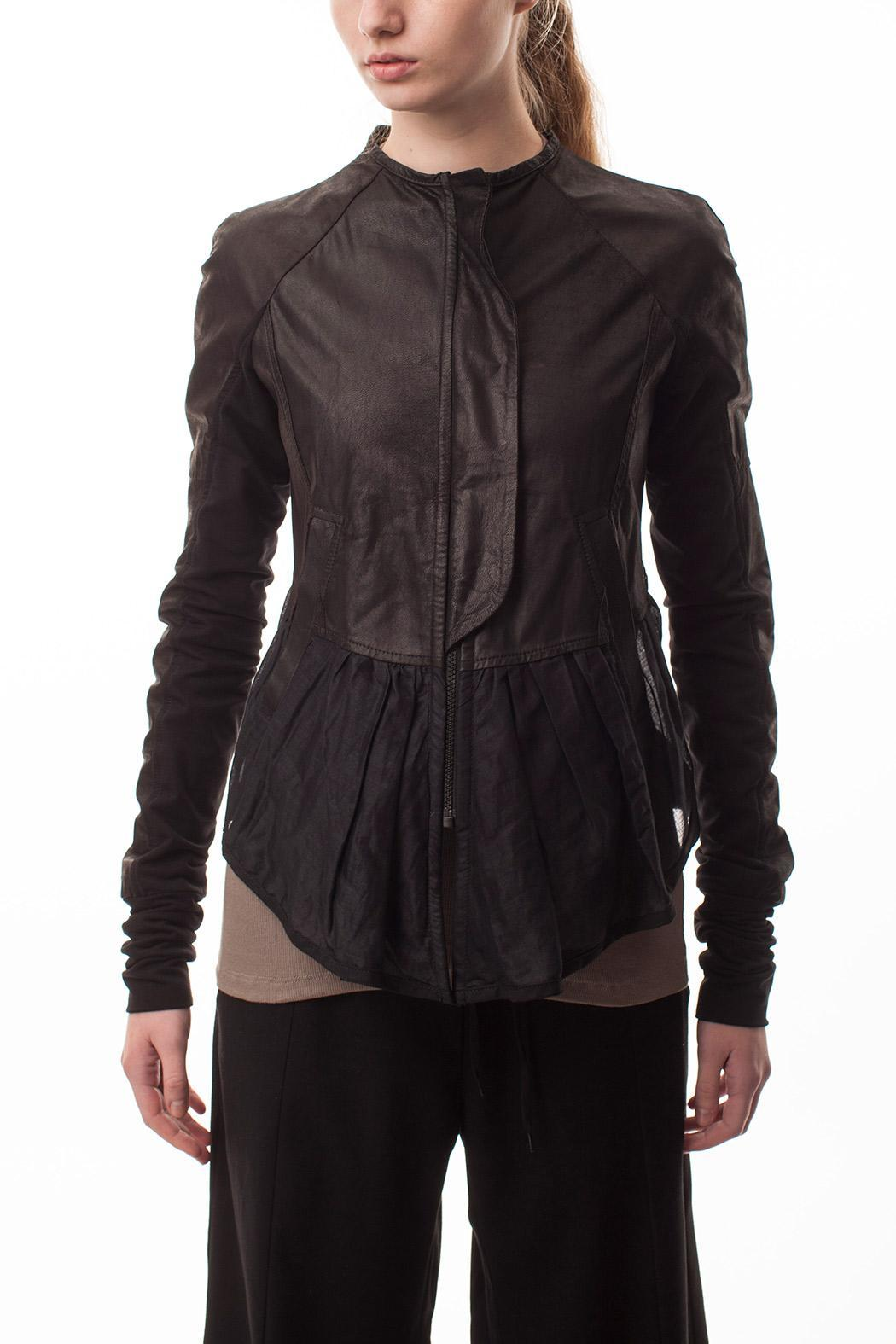 coragroppo Black Leather Jacket - Front Cropped Image