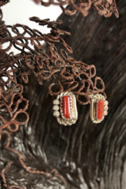 Shiprock Trading Post Coral and Sterling Silver Earring - Product Mini Image