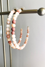 Lauren Lane Coral Beaded Hoop Earrings - Product Mini Image