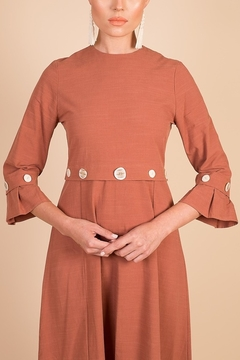 Modaliani Coral Bell Sleeve Knee Length Dress - Alternate List Image