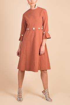 Modaliani Coral Bell Sleeve Knee Length Dress - Product List Image