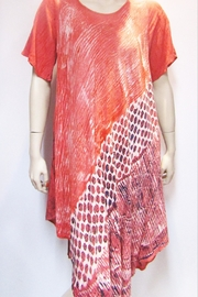Indian Tropical Coral Bias Print Dress with Sleeve - Product Mini Image