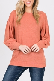 Hailey & Co Coral Bubble-Sleeve Top - Product Mini Image