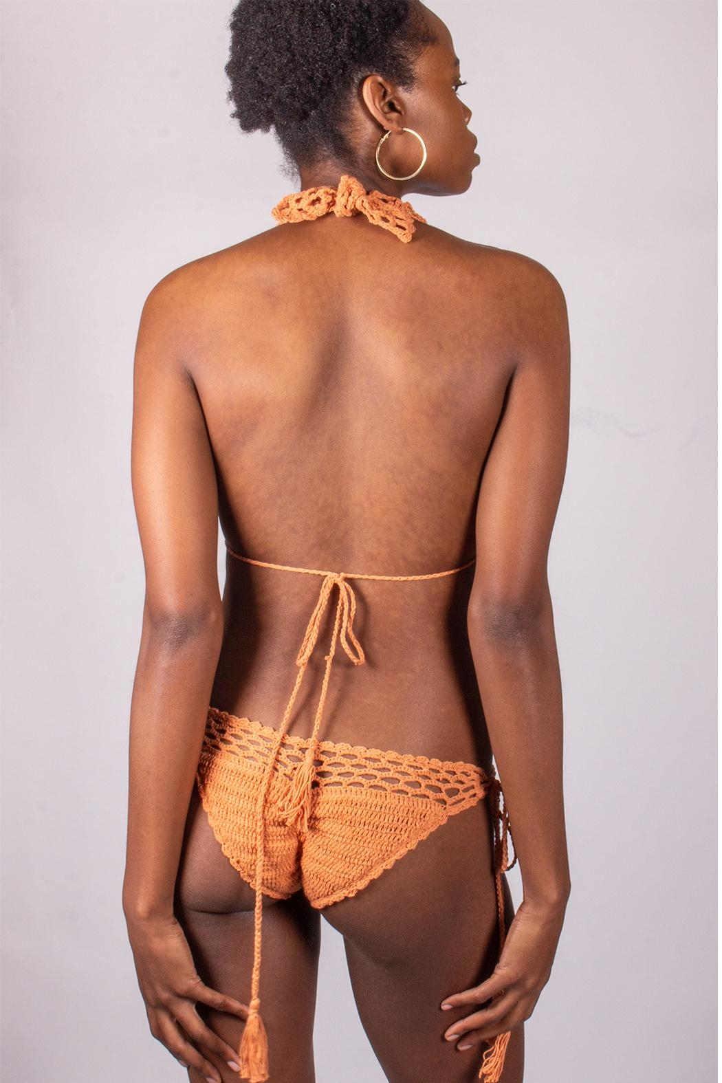 beachjoy Coral Crochet Swimsuit - Back Cropped Image