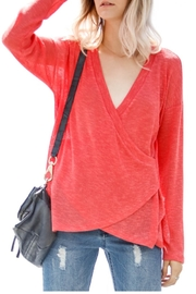 Lyn-Maree's  Coral Faux Wrap Light Top - Product Mini Image