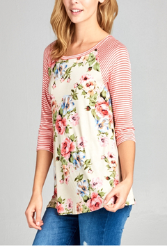 E Luna Coral Floral and Stripe Baseball T - Product List Image