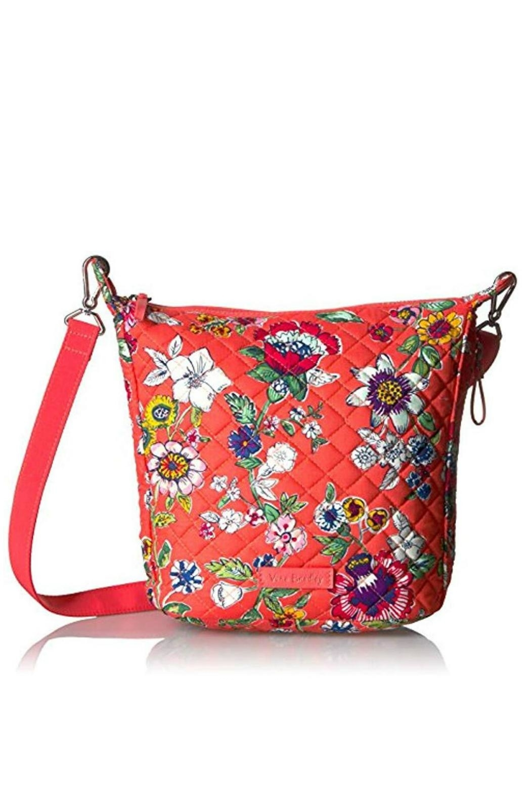 Vera Bradley Coral Floral Mini-Hobo - Front Cropped Image