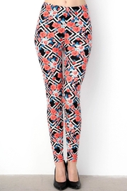New Mix Coral-Floral  Print Leggings - Product Mini Image