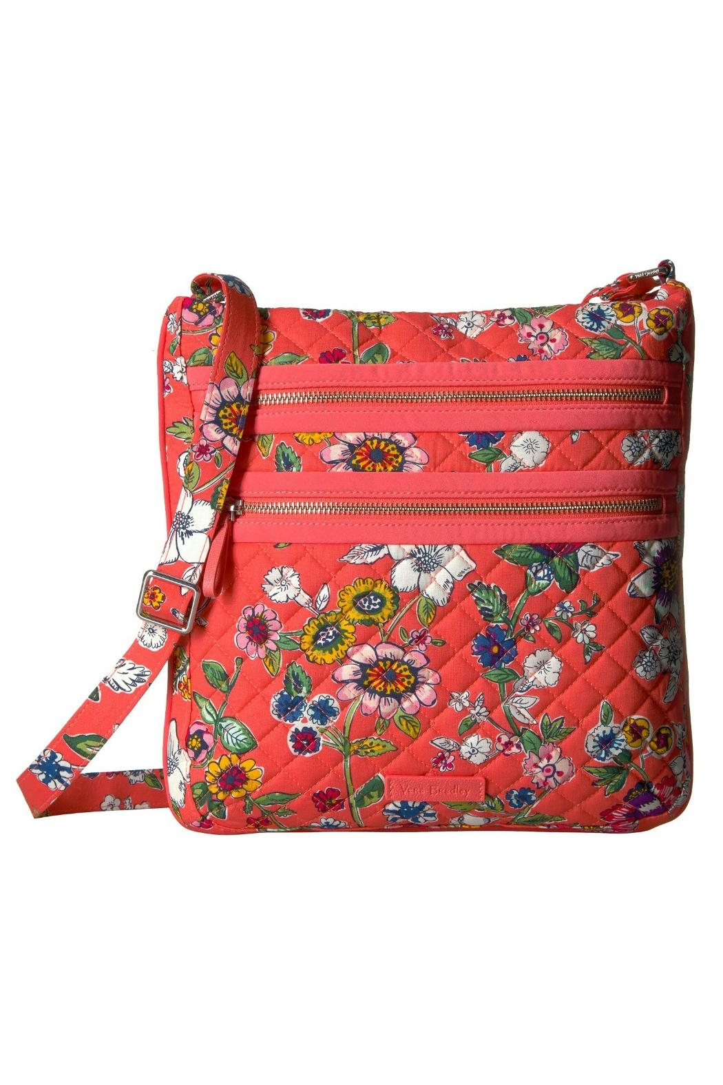 Vera Bradley Coral Floral Triple-Zip - Front Cropped Image