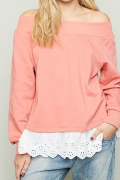 Hayden Coral french terry off shoulder sweatshirt with eyelet trim - Product List Image