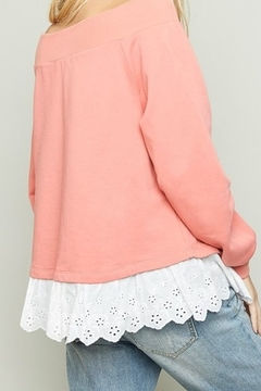 Hayden Coral french terry off shoulder sweatshirt with eyelet trim - Alternate List Image