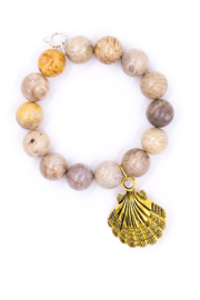 Powerbeads by Jen Coral Gemstone with Gold Shell - Product Mini Image