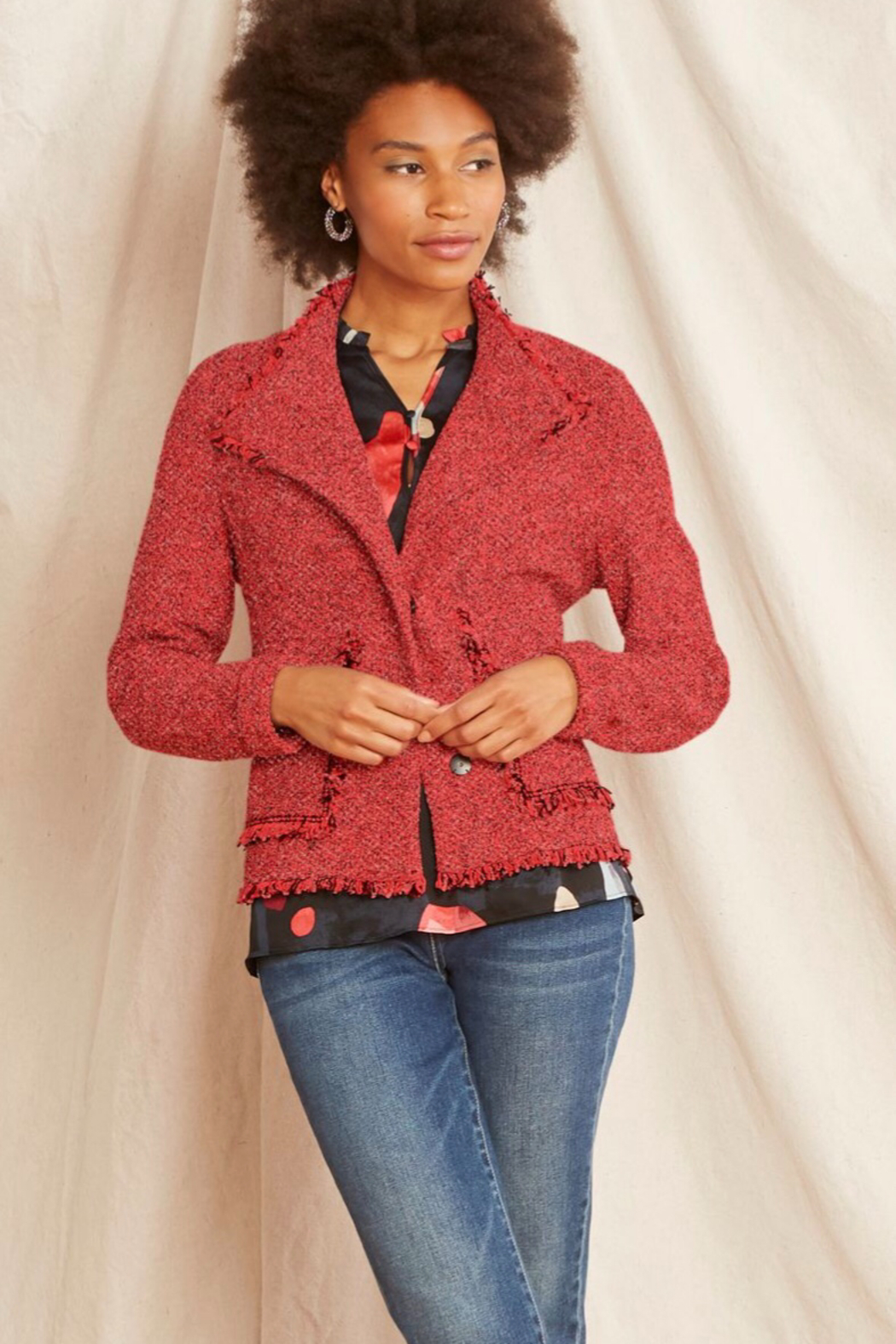 Nic +Zoe Coral/grey 2 snap cardigan - Front Cropped Image