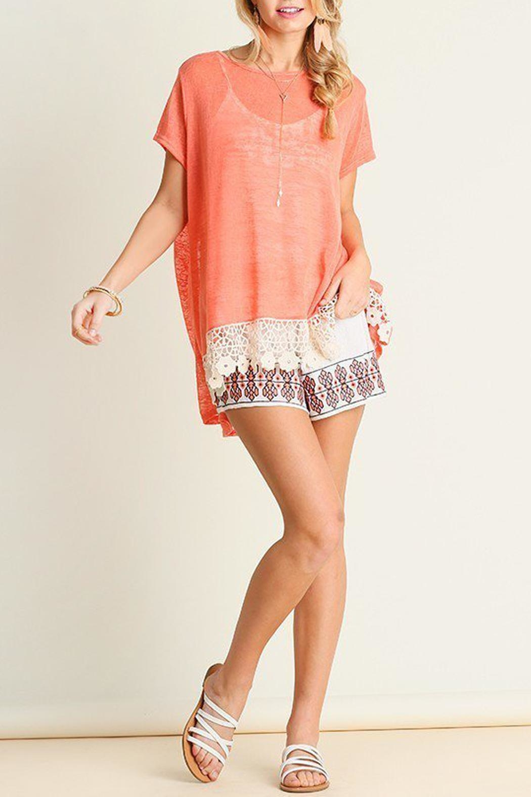Umgee USA Coral-Knit Crochet-Hem Top - Front Full Image