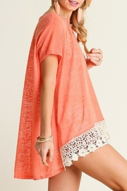 Umgee USA Coral-Knit Crochet-Hem Top - Front cropped