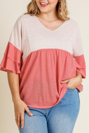 Umgee  Coral Mixed Print Top Curvy - Product Mini Image