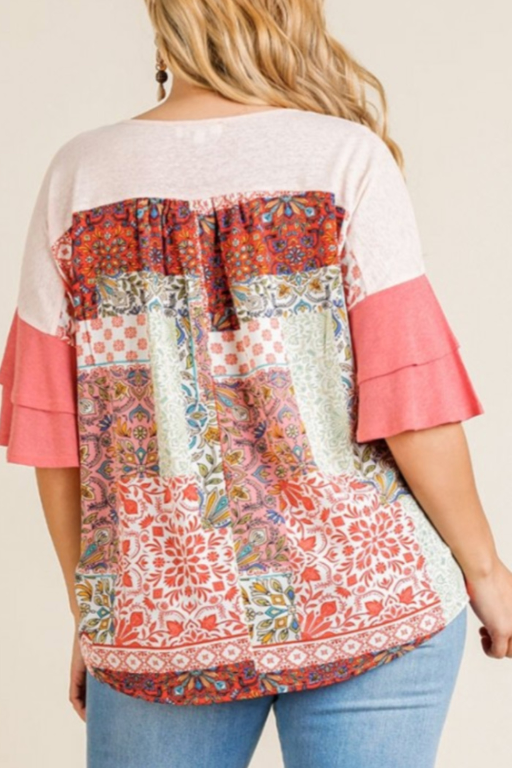Umgee  Coral Mixed Print Top Curvy - Front Full Image
